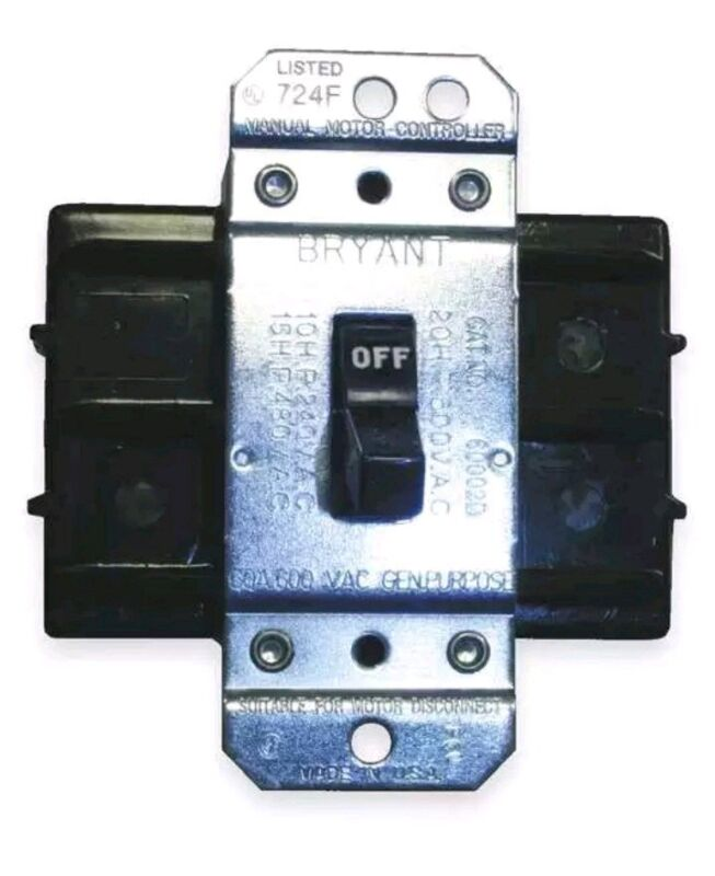 Manual Motor Switch,60A,600VAC,2P HUBBELL WIRING DEVICE-KELLEMS HBL7862D