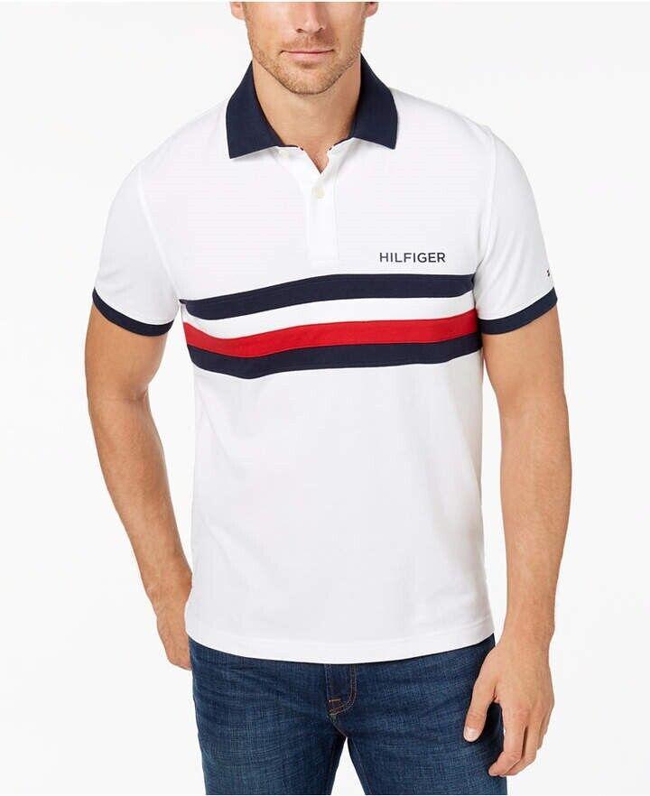 entrar Perenne Adversario  Tommy Hilfiger USA Flag Custom Fit Colorblocked Striped Polo White Mens XL  New 715676296687 | eBay