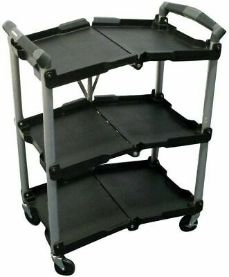 Storage Utility Cart 3-shelves 150 Lb. Load Capacity Collapsible Folding Wheeled