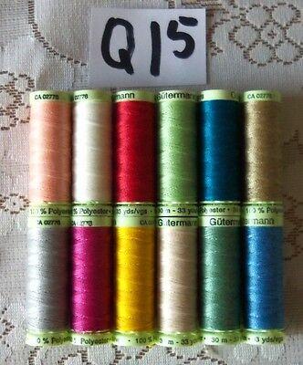 Heavy Duty Polyester - 12 Heavy Duty GUTERMANN 100% Polyester Top stitch Thread 33yd each spools (Q15)