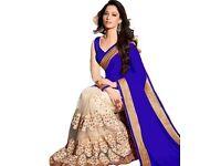 Royal blue and white wedding saree