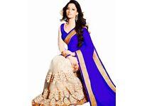 Royal blue and white net saree