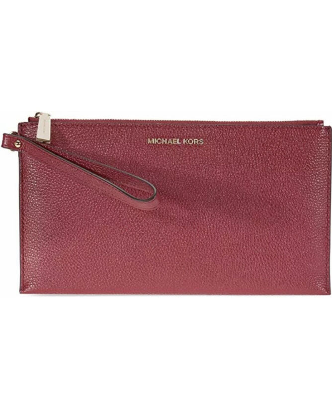 Michael Kors Large Leather Zip Clutch Mulberry New With Tags