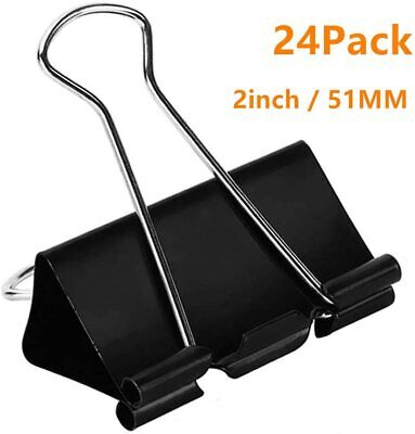 Extra Large Binder Clips 2-inch 24 Pack Big Paper Clamps For Office Supplies
