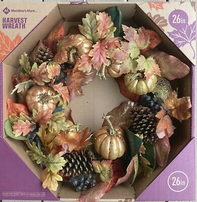 """MEMBER'S MARK 26"""" HARVEST WREATH FALL THANKSGIVING HOME DECOR GOLD SPARKLY"""