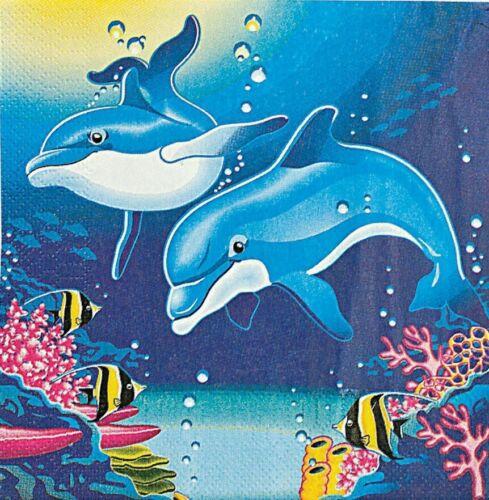 "L191 2 Single Paper Decoupage Napkins Lunch Size 6.5"" Cartoon Dolphin Lisa Frank"