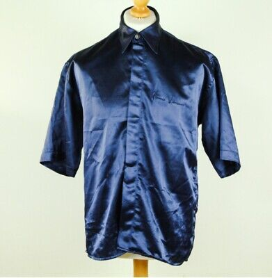 "Vintage ""Gianni Versace"" satin shirt navy Medium"