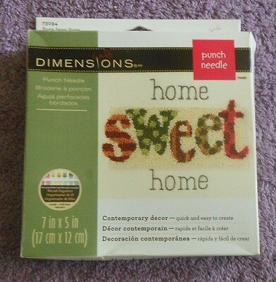 """DIMENSIONS PUNCH NEEDLE KIT  """"HOME SWEET HOME""""   7"""" x 5"""""""