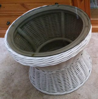 Indoor outdoor Cane/Wicker style Coffee table with glass top