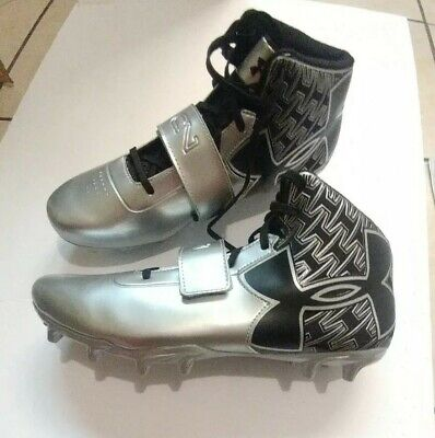 eaef45bb74c1 Under Armour Cam Newton Football Cleats C1N Mid Size 12 Black Silver NWOB