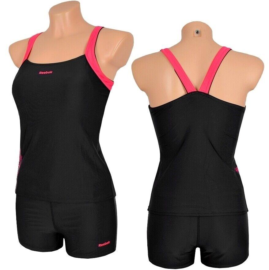 Reebok Damen Tankini Badeanzug Schimmanzug adidas Bikini XS S M L schwarz/pink