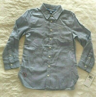 Polo Ralph Lauren L/S Button Front Shirt Blue 100% Cotton Girls Size 5 NWT Girls L/s Polo