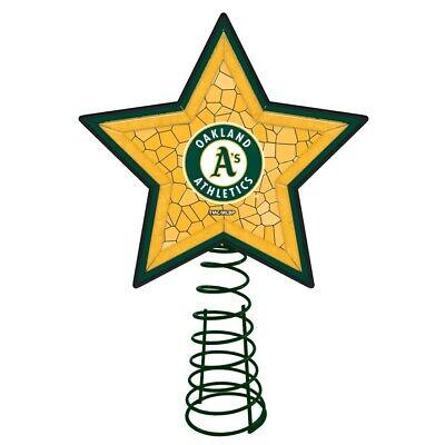 OAKLAND ATHLETICS Mosaic Christmas Tree Topper Baseball Ornament Light Up Star