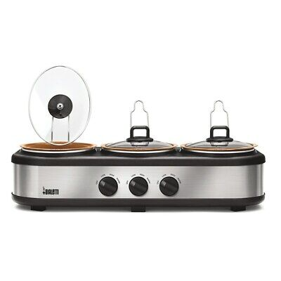 Bialetti Copper Nonstick Triple 1.5 Qt Slow Cooker Server Large Buffet Catering