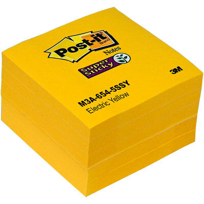 Post-it Notes 654-5ssy Electric Yellow Super Sticky 3 X 3 Pack Of 5 Pads