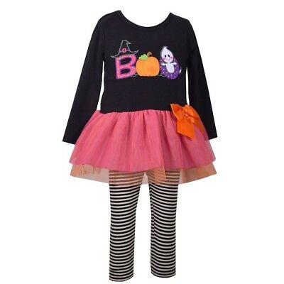 Bonnie Jean Baby Girls' Ghost BOO Tutu Halloween Dress Leggings Outfit 6-9M New (Bonnie Jean Halloween Ghost Tutu Dress)