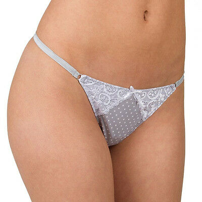 Candie's Microfiber Lace-Trim G-String Thong Gray White dot Juniors MED 6 LARGE7