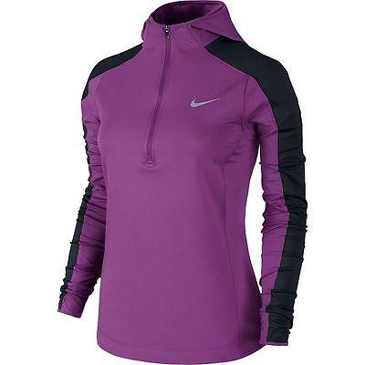 New Nike Womens Thermal Hoodie Zip Running Shirt Top Purple Black XS 2 $85 NWT Nike Womens Thermal