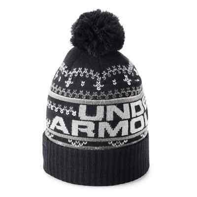 NEW!  Men's Under Armour Retro Pom Beanie Coldgear Winter Hat - BLACK $28 Beanie Under Armour