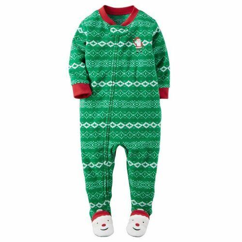 Carters NWT 2T Santa Fair Isle Green Christmas Footed Fleece Pajama Boys