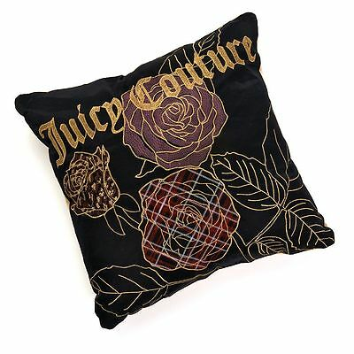 JUICY COUTURE Loco Bouquet Black & Gold Floral Throw Pillow NEW 16