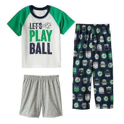 "NWT Boys 12m 12 MONTHS CARTER'S 3 Piece ""LET'S PLAY BALL"" Baseball Pajama Set"