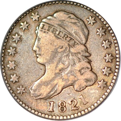 1821 10C Large Date Capped Bust Dime PCGS F15 (CAC) #167