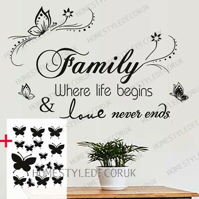 Home Decoration - Large Family Wall Quotes Decal Wall Stickers FREE 16 Butterflies Home Art Decor