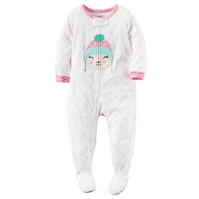 Carter's 104/110 Schlafanzug Fleece Einteiler Mädchen Winter Reißverschluss weiß