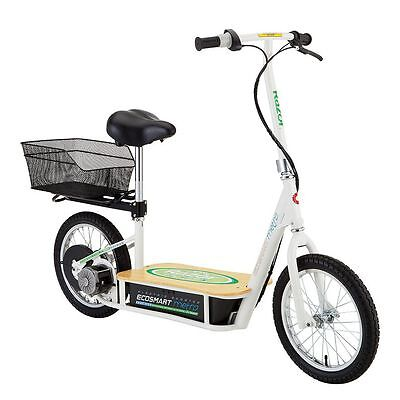 Razor EcoSmart Metro Electric Economical Green Scooter with Seat and Rack