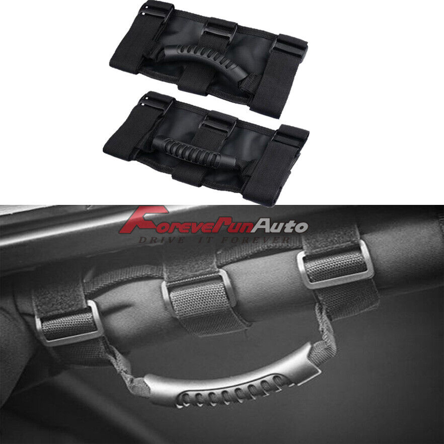 2pcs Premium Roll Bar Grab Handle Handles Black for Jeep Wrangler CJ YJ TJ JK