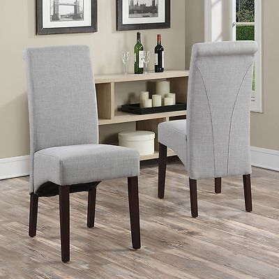 Simpli Home 2 Piece Avalon Linen Deluxe Parson Dining Chair WS5134-NL Chair NEW 2 Piece Parson Chair