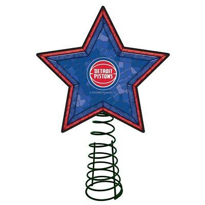 DETROIT PISTONS NBA Mosaic Christmas Tree Topper NBA Basketball Light Up Star