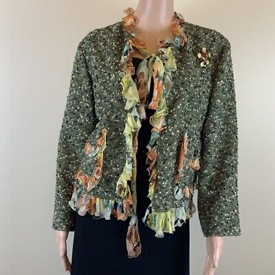 Dolce & Gabbana green tweed jacket with silk trim and pin Size 46/US12