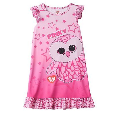 NWT TY Beanie Boo Pink Girl's Pinky Owl Nightgown Gown Pajamas 4 5 6 6X 7 8 10
