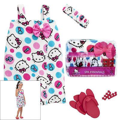 Hello Kitty Dot Spa Wrap Bath Robe Set - Headband Pedicure Flip Flops 5-6 / 7-8  Hello Kitty Wrap