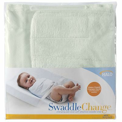 Halo SwaddleChange - Changing Pad Cover with Attached Swaddle Wrap, Sage Velboa