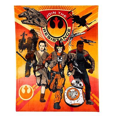 NEW Star Wars: Episode 7 Force Awakens Resistance Character Plush Throw Blanket  - Star Wars Characters Episode 7