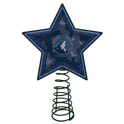 MINNESOTA TIMBERWOLVES Mosaic Christmas Tree Topper NBA Basketball Light Up Star