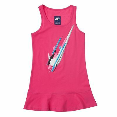 NIKE Girls Swoosh Sleeveless Knit Summer Dress  2T 3T NWT Pink Play Athletic  (Nike Summer Dress)