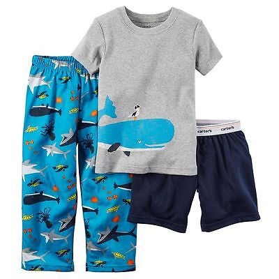 NWT Boys 4T CARTER'S 3-Piece  Sea Creatures Pajama Set Tee Pants Shorts 3pc
