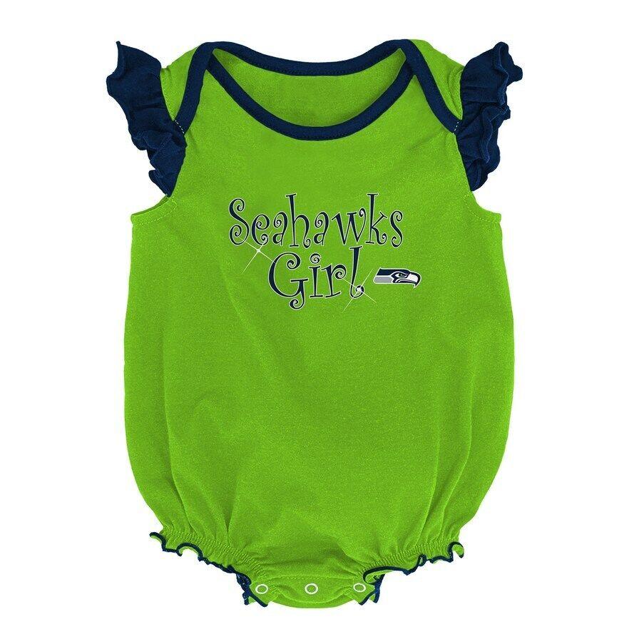 Infant Newborn Baby Girls NFL Seattle Seahawks Bodysuit Cree