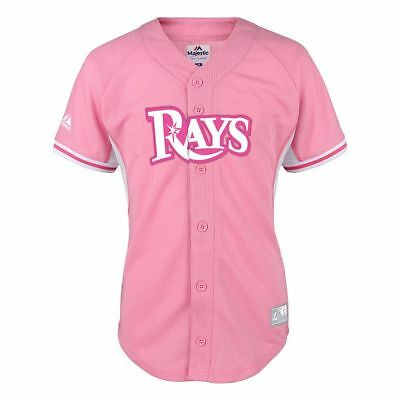NWT Majestic Tampa Bay Rays MLB Youth Girls Batting Practice Jersey - (Mlb Pink Bats)