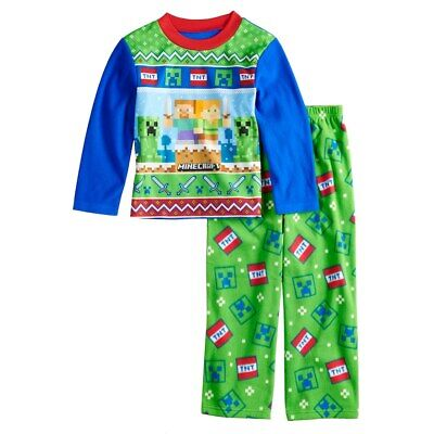 Minecraft Creeper Fleece 2-Piece Pajama Set Size 8 - 10 - 12 NWT $36 RV