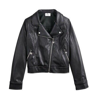 arz Moto Jacke Abnehmbarer Pelzkragen - Mädchen Medium 10/12 (Mädchen Moto Jacke)