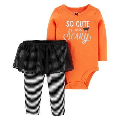 Carter's Baby Girl Halloween So Cute It's Scary Bodysuit Tutu Leggings Set NWT (It's Halloween Baby)