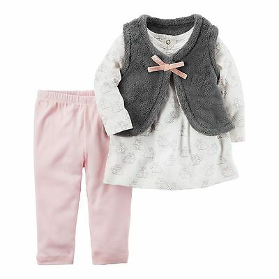 NWT Carters Baby Girl 3pc Vest Set Outfit Clothes Pink 3 6 9 12 18 24 Month NEW