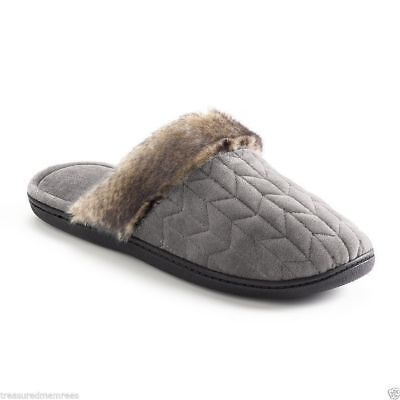 Isotoner Clog Slippers With Faux Fur Trim ~ Size Medium  ~ G