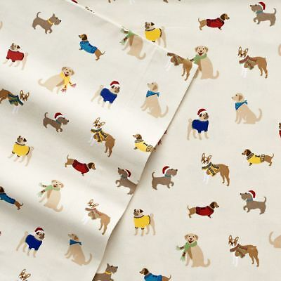 NWT CUDDL DUDS QUEEN FLANNEL DOGS SHEET SET LAB PUG Dachshund