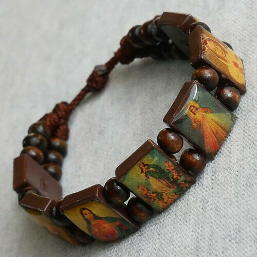 Religious Images Brown Wood Bracelet with (7) Panels
